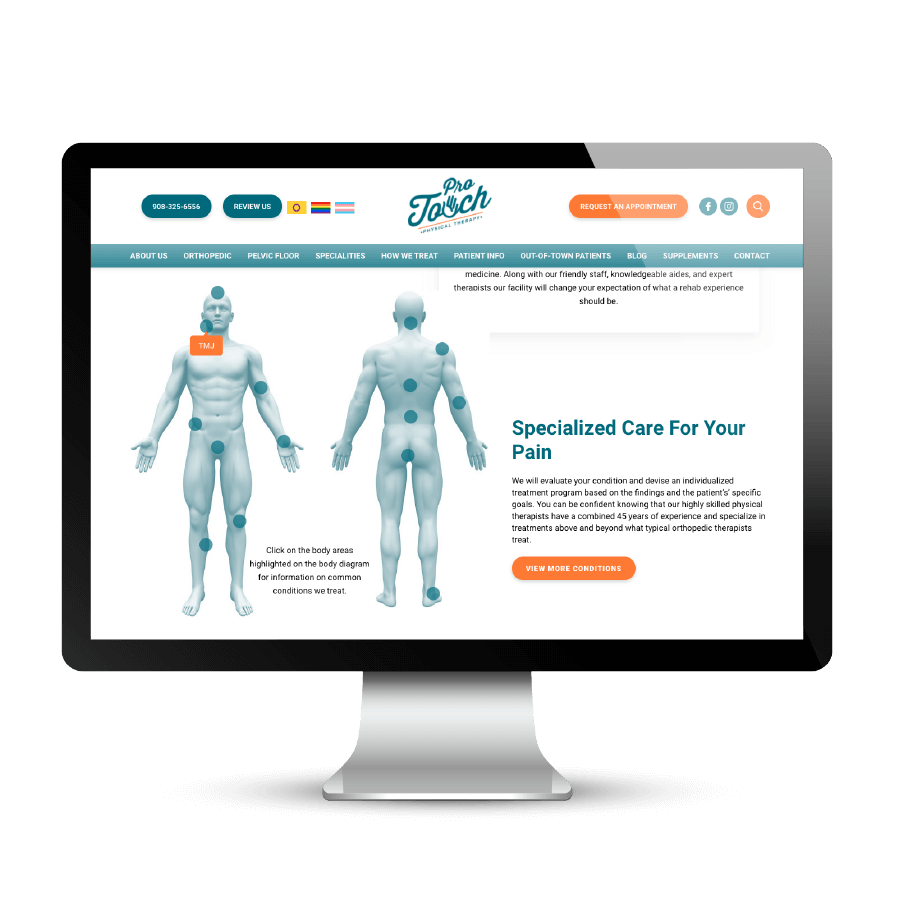 physical therapy condition website pages