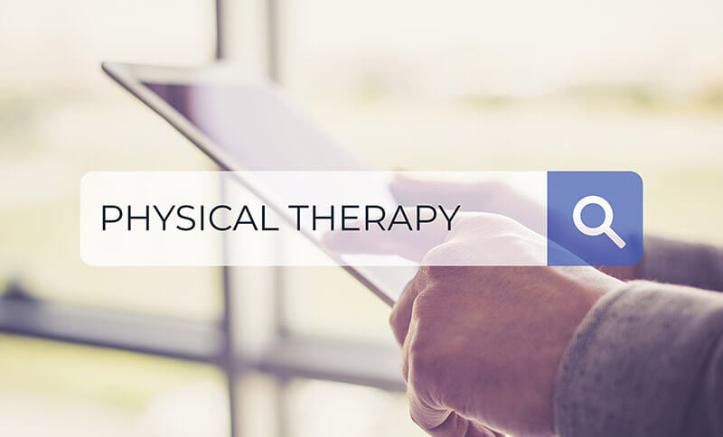 patient searching for physical therapy services