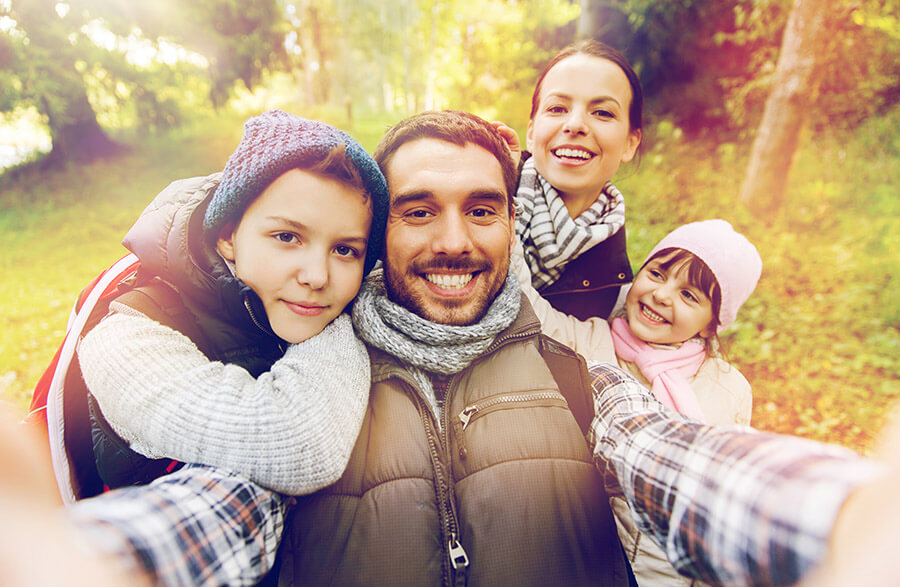 Family Posts Fall Selfie on Social Media