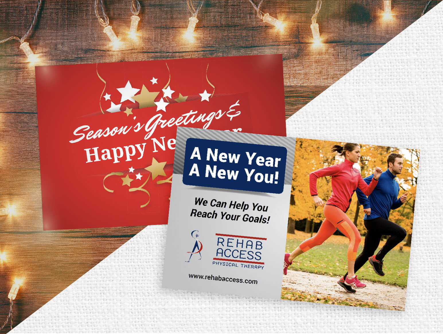 Holiday and New Year Marketing Postcards