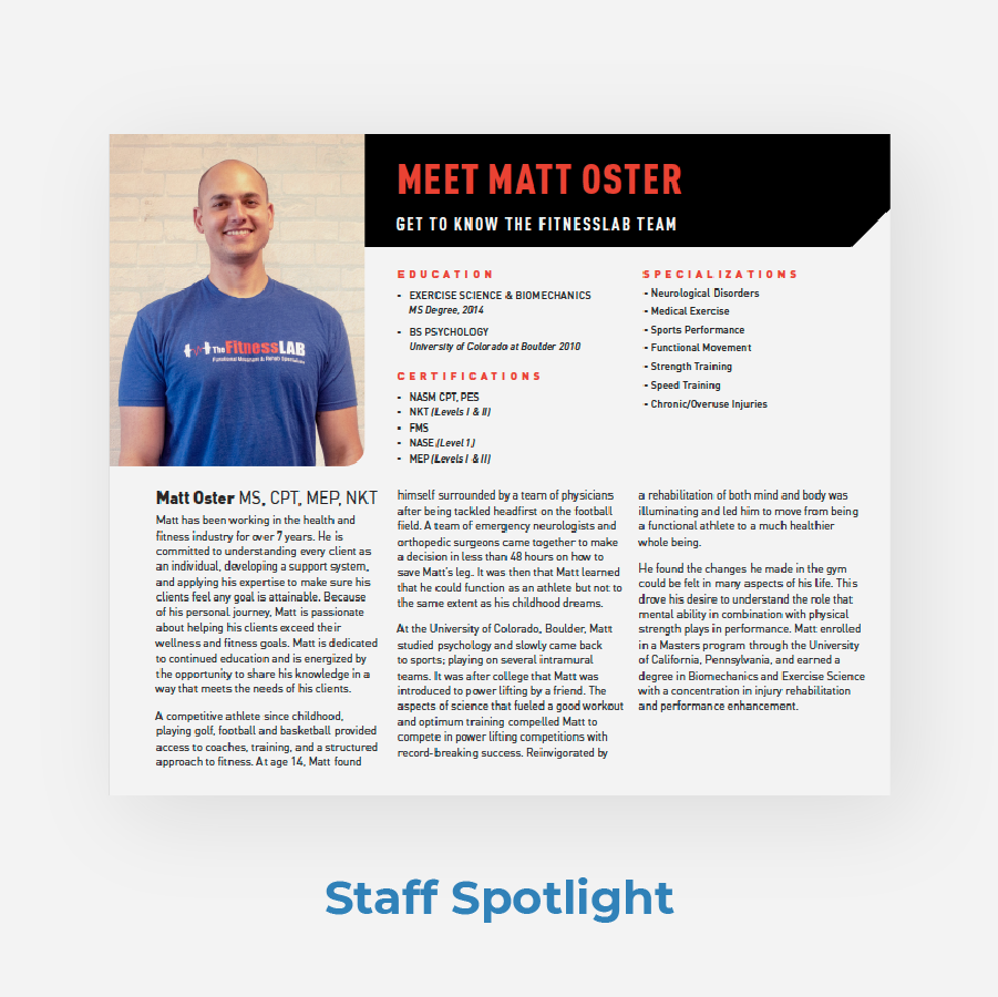 Fitness Lab PT Newsletter Staff Spotlight