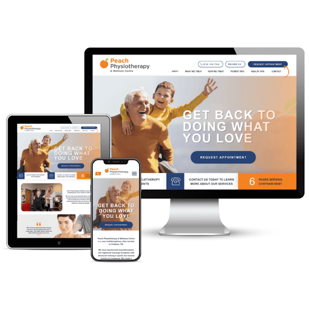 Peach Physiotherapy Web Mockup