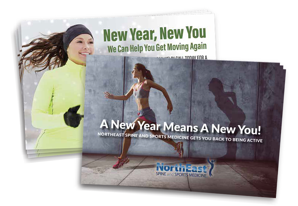 new year physical therapy postcard campaign